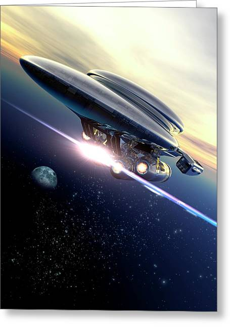 Space Tourism Greeting Card by Victor Habbick Visions