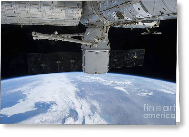Capsule Greeting Cards - Spacex Dragon During Its Docking Greeting Card by Stocktrek Images