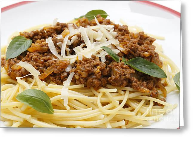 Grate Greeting Cards - Spaghetti bolognese close-up Greeting Card by Paul Cowan