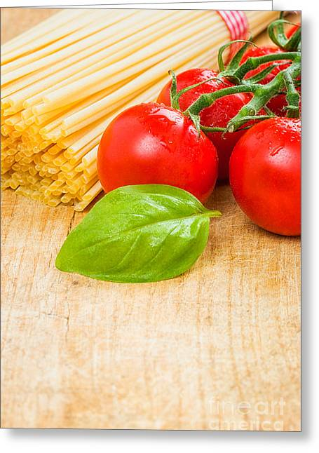 Spaghetti Noodles Greeting Cards - Spaghetti with tomatoes and basil Greeting Card by Palatia Photo
