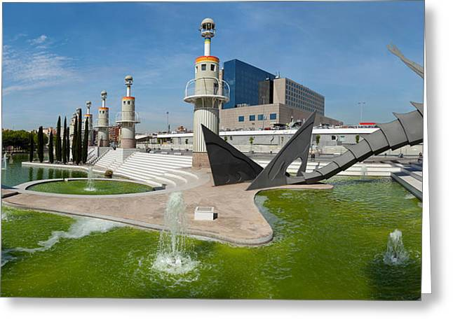 Lookout Tower Greeting Cards - Spain Industrial Park, Barcelona Greeting Card by Panoramic Images