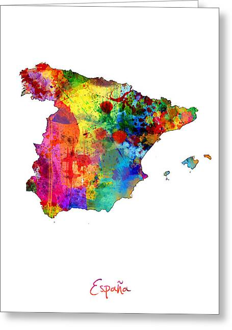 Espana Greeting Cards - Spain Watercolor Map Greeting Card by Michael Tompsett