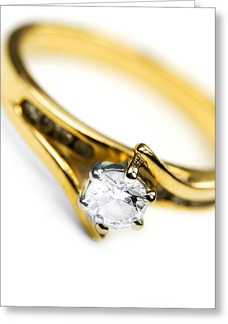Engagement Ring Greeting Cards - Sparkling Diamond Engagement Ring Greeting Card by Ryan Jorgensen