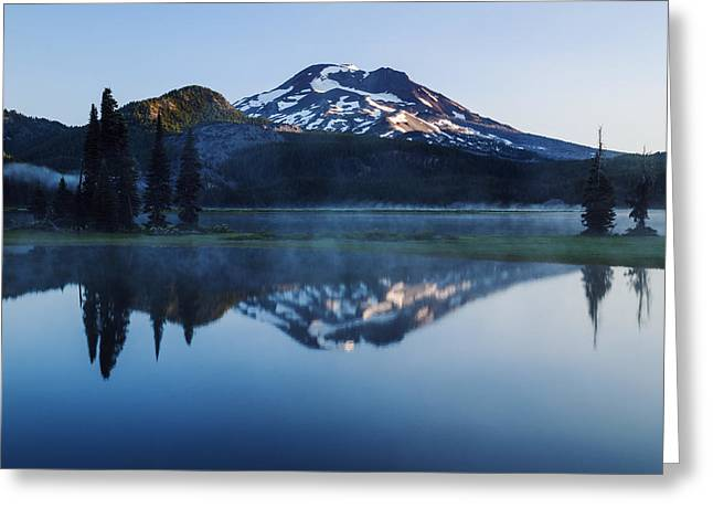 Reflections Of Sun In Water Greeting Cards - Sparks Lake Oregon USA Greeting Card by Vishwanath Bhat