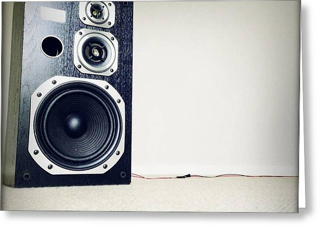 Noise . Sounds Photographs Greeting Cards - Speaker Greeting Card by Les Cunliffe