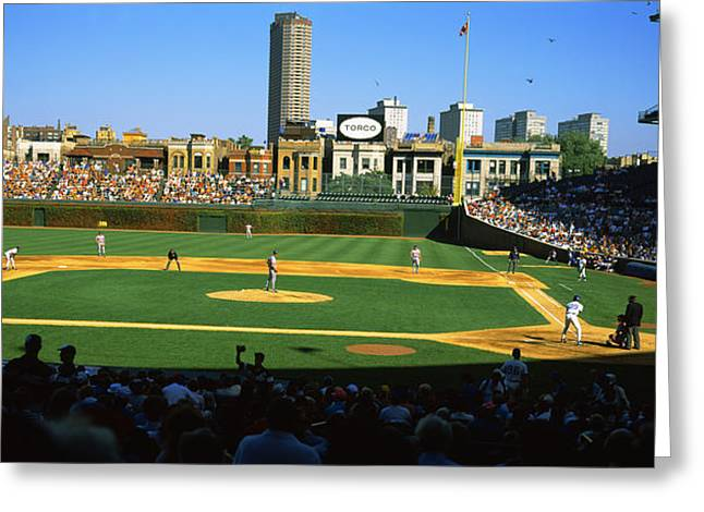 Spectators In A Stadium, Wrigley Field Greeting Card by Panoramic Images