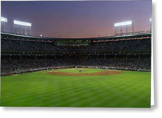Baseball Stadiums Greeting Cards - Spectators Watching A Baseball Match Greeting Card by Panoramic Images