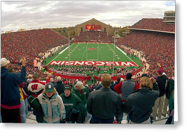 Professional Sports Greeting Cards - Spectators Watching A Football Match Greeting Card by Panoramic Images