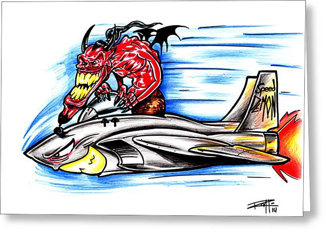 Iroatethis Drawings Greeting Cards - Speed Demon Greeting Card by Big Mike Roate