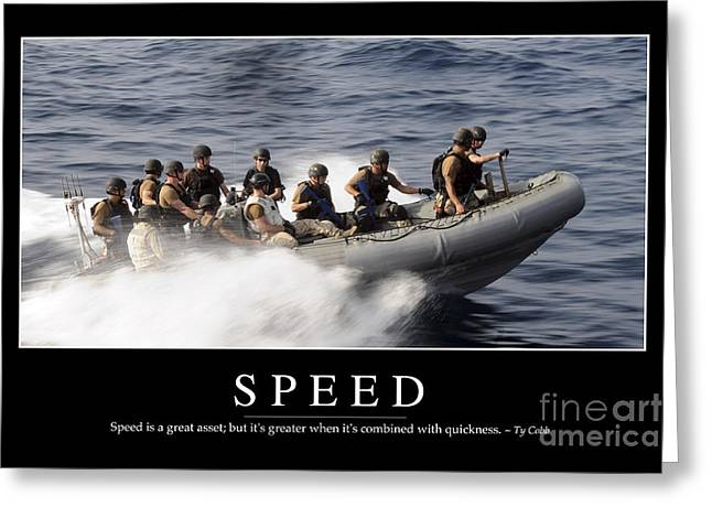Gulf Team Greeting Cards - Speed Inspirational Quote Greeting Card by Stocktrek Images