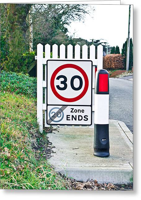 Bollard Greeting Cards - Speed limit Greeting Card by Tom Gowanlock