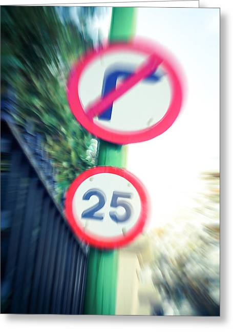 Speed Sign Greeting Card by Tom Gowanlock