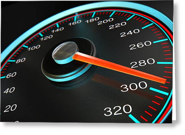 Speedometer Fast Speed Greeting Card by Allan Swart