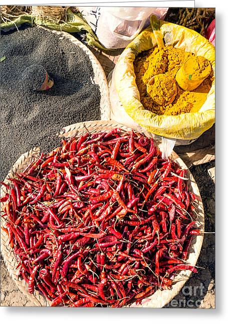 Local Food Photographs Greeting Cards - Spices at local market - Myanmar Greeting Card by Matteo Colombo