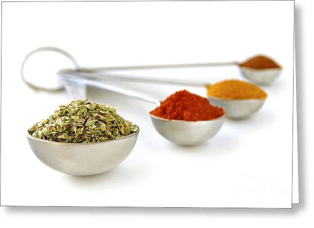 Various Greeting Cards - Spices in measuring spoons Greeting Card by Elena Elisseeva