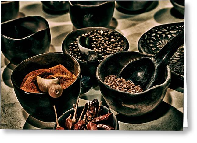 Wooden Bowls Photographs Greeting Cards - Spicy  Greeting Card by Mountain Dreams