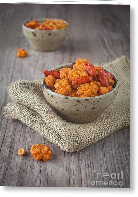 Wooden Bowl Greeting Cards - Spicy nuts and snacks Greeting Card by Sabino Parente