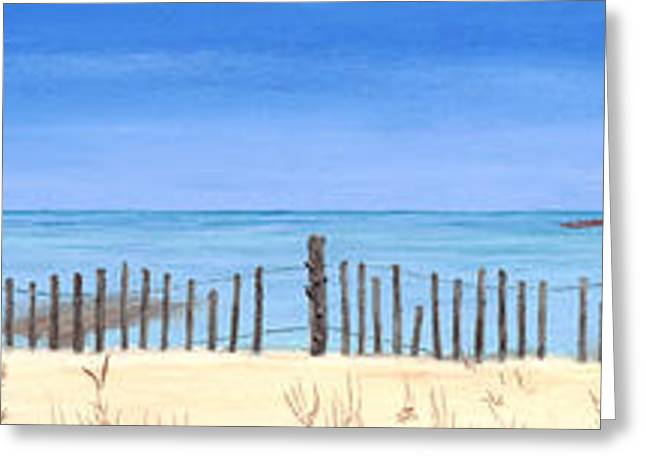 Sand Fences Pastels Greeting Cards - Spike Horn Bay Greeting Card by George Burr
