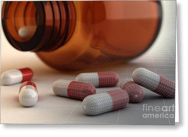 Medication Greeting Cards - Spilled Medication Wireframe Greeting Card by Science Picture Co