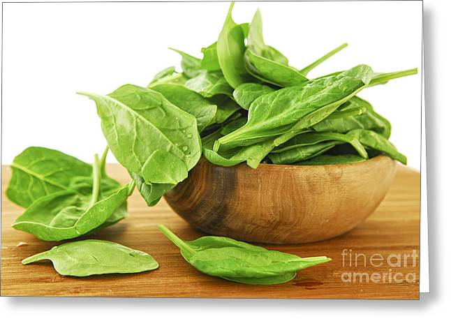 Drop Greeting Cards - Spinach Greeting Card by Elena Elisseeva