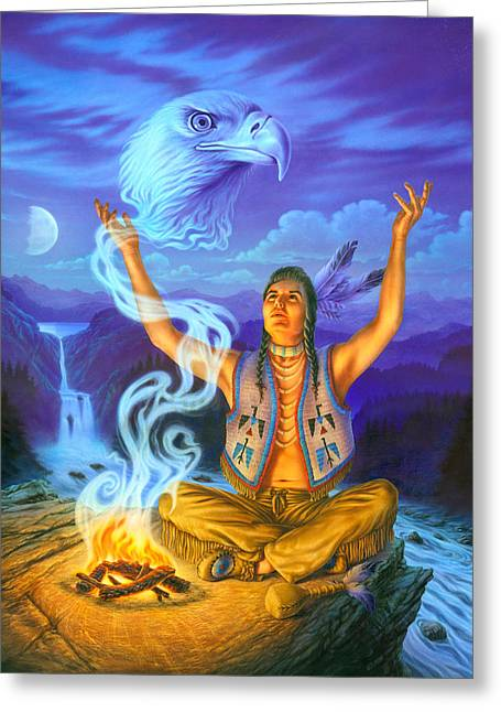 Shaman Greeting Cards - Spirit of the Eagle Greeting Card by Andrew Farley