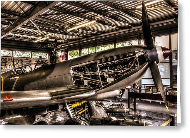 Spitfire Greeting Cards - Spitfire engine Greeting Card by Ian Hufton