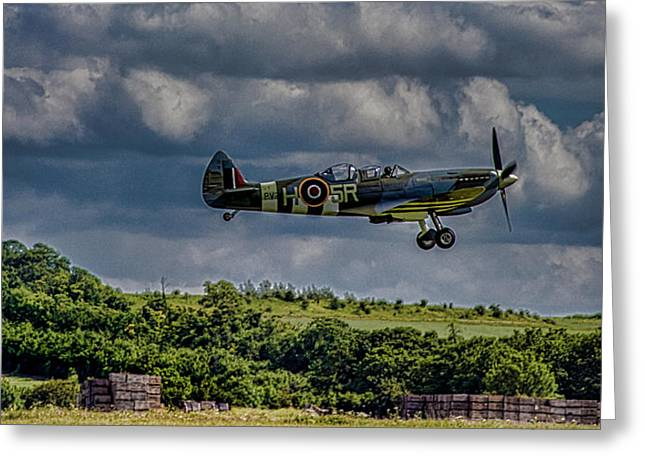 Low Light Greeting Cards - Spitfire Greeting Card by Martin Newman