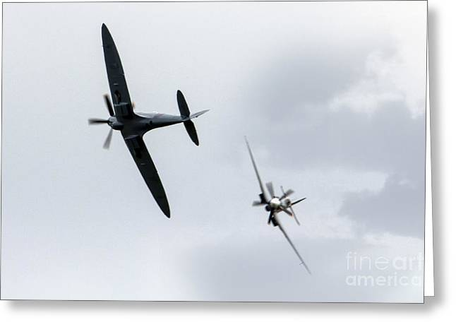 Spitfire Greeting Cards - Spitfire Pass Greeting Card by J Biggadike