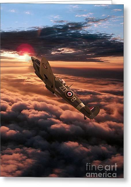 Mkix Digital Art Greeting Cards - Spitfire Sundown  Greeting Card by J Biggadike