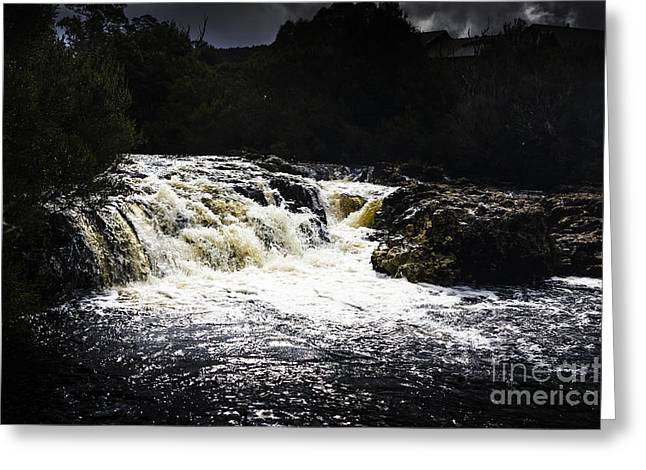 Lush Colors Greeting Cards - Splashing Australian water stream or waterfall Greeting Card by Ryan Jorgensen