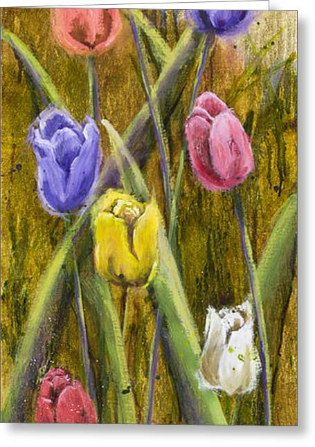 Splashy Paintings Greeting Cards - Splashy Tulips Greeting Card by Vic  Mastis