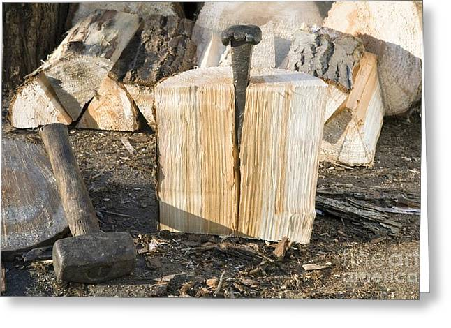 Wood Cutting Tools Greeting Cards - Splitting Of Wood Log Greeting Card by Sheila Terry