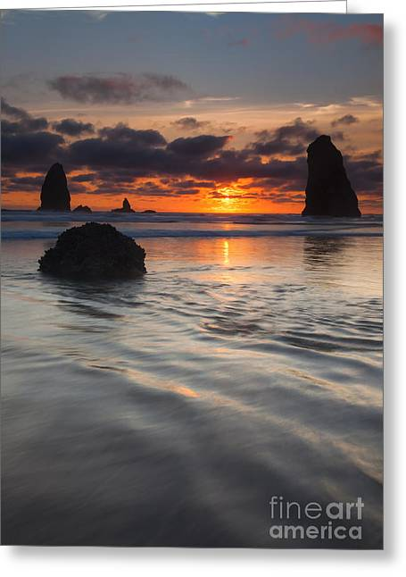 Cannon Beach Greeting Cards - Splitting the Needles Greeting Card by Mike  Dawson