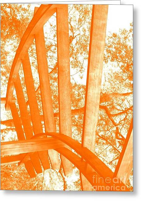 Spokes Paintings Greeting Cards - Spokes Orange Greeting Card by Patty  Thomas