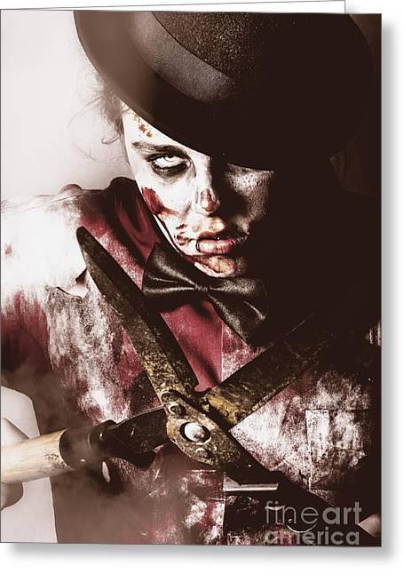 Fiend Greeting Cards - Spooky undead zombie gardener. Midnight pruning Greeting Card by Ryan Jorgensen