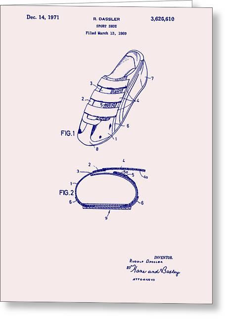 Tennis Drawings Greeting Cards - Sport Shoe Patent 1971 Greeting Card by Mountain Dreams