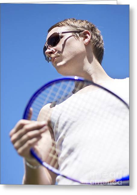 Racquet Greeting Cards - Sporting A Racquet Greeting Card by Ryan Jorgensen