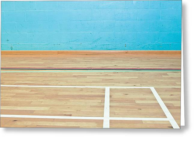 Active Greeting Cards - Sports hall Greeting Card by Tom Gowanlock