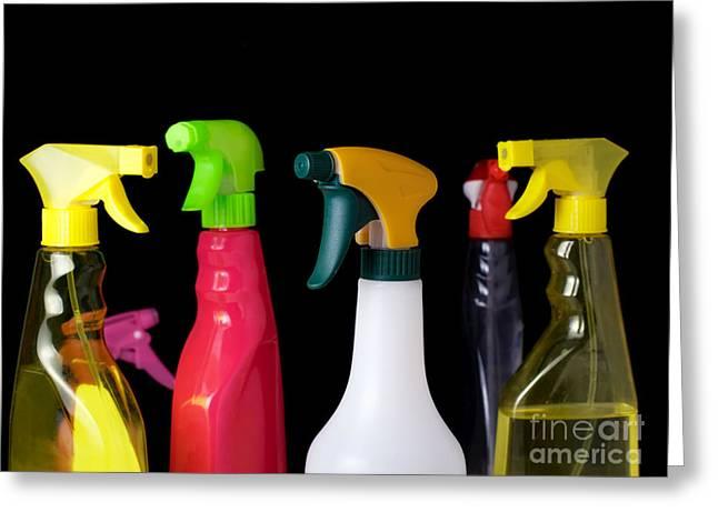 Wash Pail Greeting Cards - Spray bottles Greeting Card by Sinisa Botas