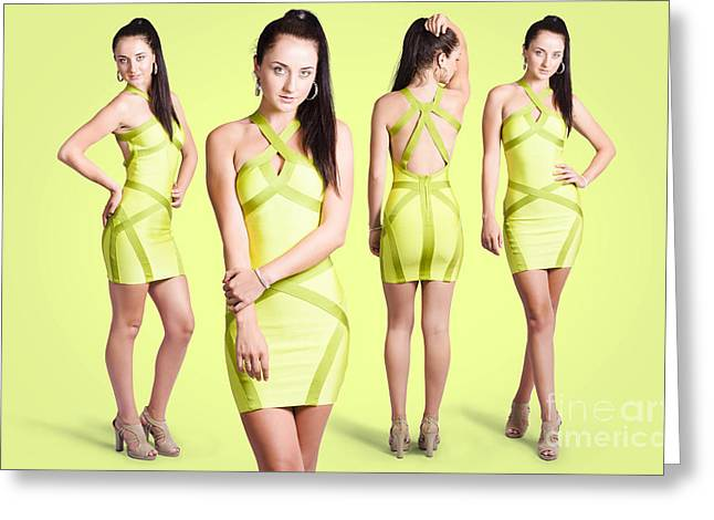 Spring Fashion. Young Girl In Retro Green Dress Greeting Card by Jorgo Photography - Wall Art Gallery