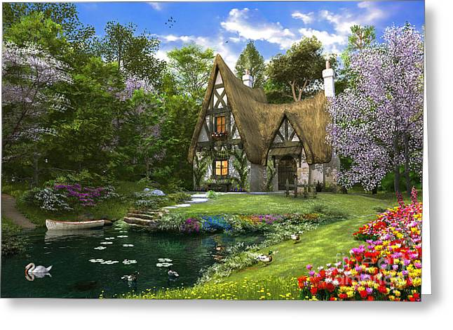 Swans... Greeting Cards - Spring Lake Cottage Greeting Card by Dominic Davison