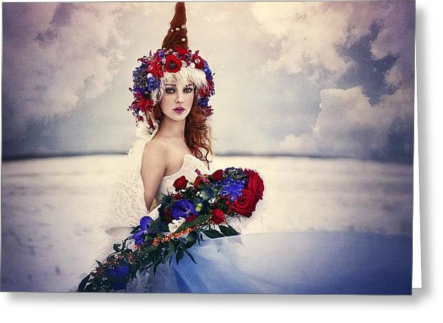 Girl In Snow Greeting Cards - Spring Greeting Card by Margarita Kareva