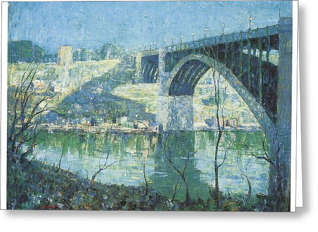 Harlem River Greeting Cards - Spring Night Harlem River Greeting Card by Ernest Lawson