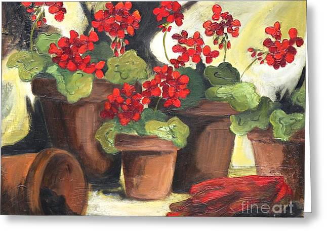 Red Geraniums Greeting Cards - Spring Planting Greeting Card by Jenny King