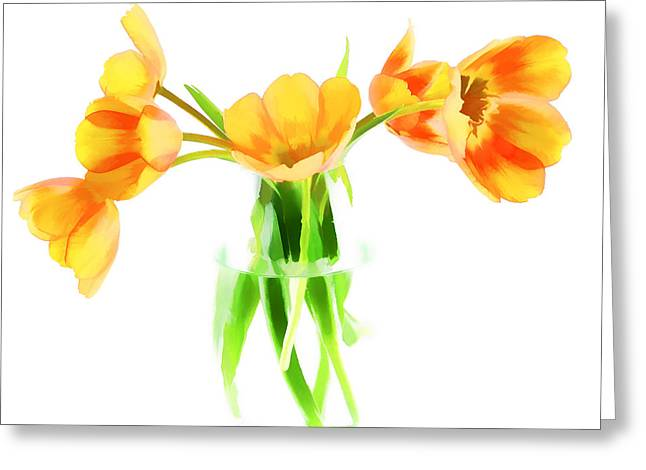 Floral Digital Art Digital Art Greeting Cards - Spring Tulips Greeting Card by Darren Fisher