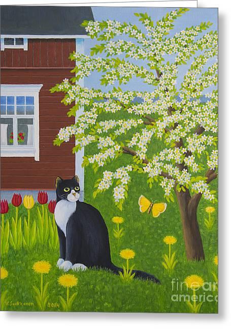Animals Love Paintings Greeting Cards - Spring Greeting Card by Veikko Suikkanen