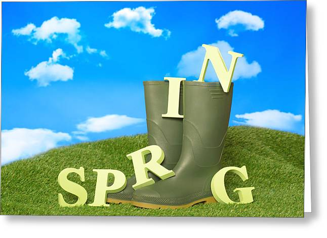 Green Grass Blue Sky Greeting Cards - Spring Wellies Greeting Card by Amanda And Christopher Elwell