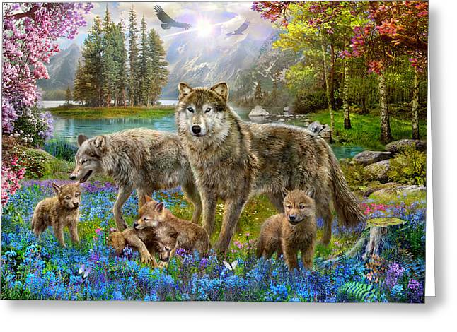 Harmonious Photographs Greeting Cards - Spring Wolf Family Greeting Card by Jan Patrik Krasny