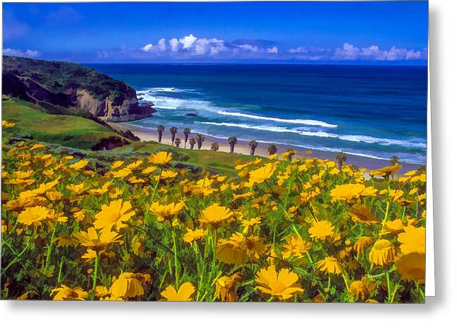 Danae Paintings Greeting Cards - Springtime on the Headlands Greeting Card by Cliff Wassmann