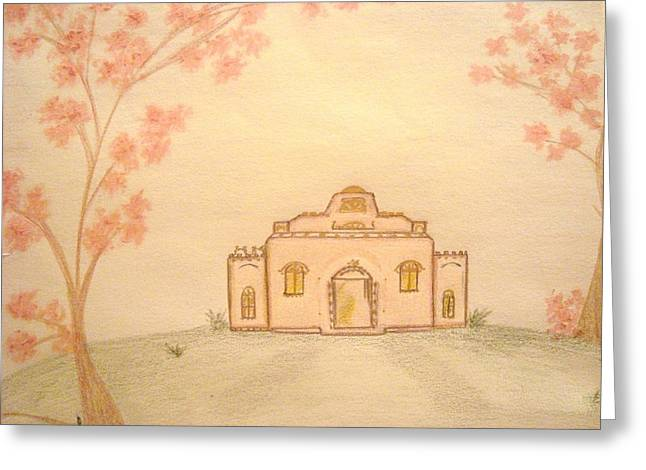 Spring Scenes Drawings Greeting Cards - Springtime Villa Greeting Card by Christine Corretti